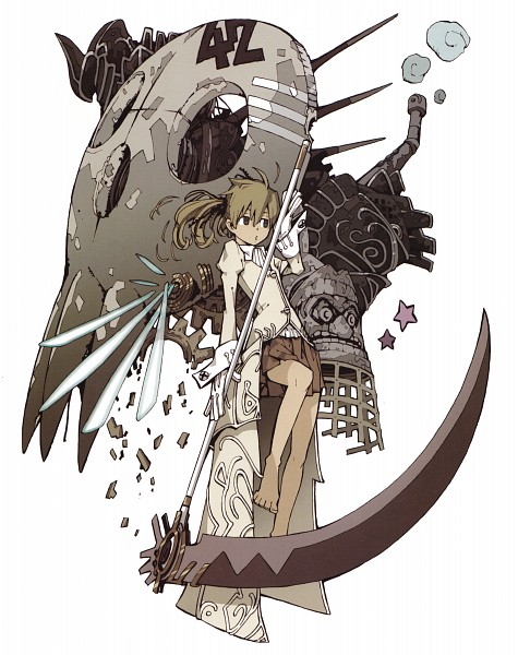 Tags: Anime, Ohkubo Atsushi, SOUL EATER, SOUL EATER SOUL ART, Soul Eater Evans, Maka Albarn, Soul Eater Evans (Weapon Form), Scan, Official Art