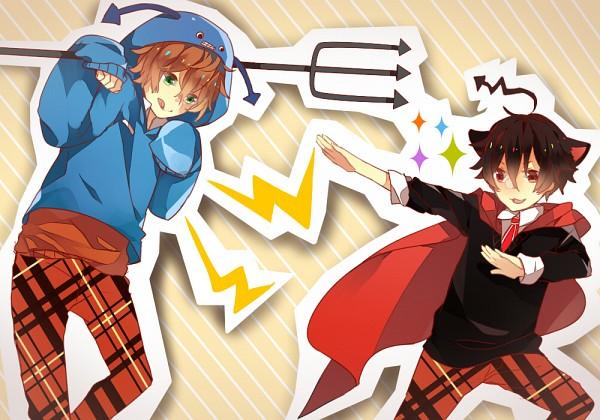 Tags: Anime, Pixiv Id 2371105, Yukinanaedo, Shuuen no Shiori Project, VOCALOID, C-ta, A-ya, >:3, Checkered Pants, Blue Hoodie, Makeinu Shijoushugi, Fanart, Fanart From Pixiv