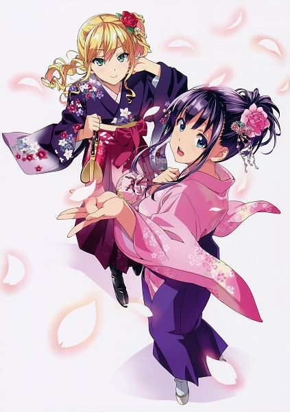 Tags: Anime, Takeda Hiromitsu, Maken-ki!, Takeda Hiromitsu Artworks Maken-ki! En, Amaya Haruko, Himegami Kodama, Official Art, Scan