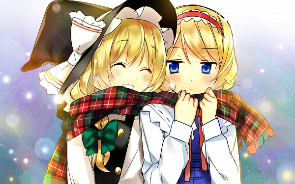 Tags: Anime, Hanabana Tsubomi, Touhou, Kirisame Marisa, Alice Margatroid, Pixiv, Fanart, Wallpaper, HD Wallpaper, MariAli