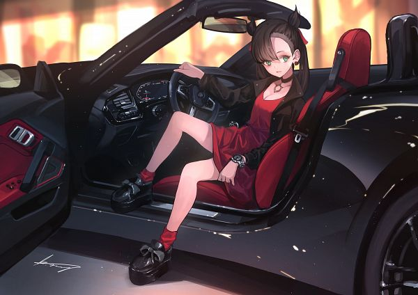 Tags: Anime, Terabyte (Rook777), Pokémon Sword & Shield, Pokémon, Marie (Pokémon), Car Inside, Bmw Z4, Bmw, Fanart, Fanart From Pixiv, Pixiv, Marnie (pokémon)