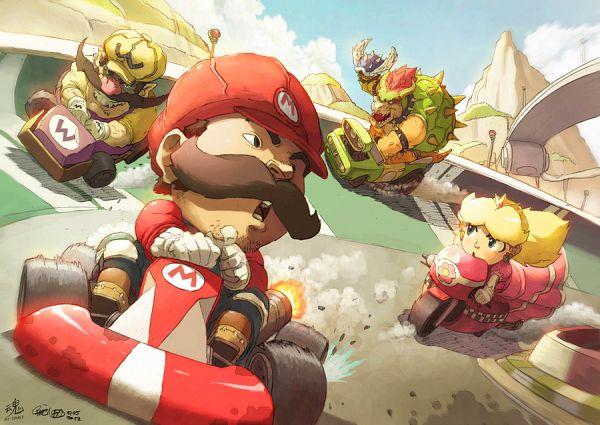 Tags: Anime, theCHAMBA, Ry-Spirit, Super Mario Bros., Warioware, Mario Kart, Mario (Character), Wario, Bowser, Princess Peach, Race Car, Racing, Turtle Shell