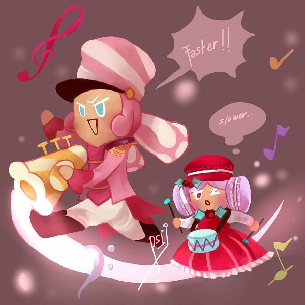Tags: Anime, Psi J, Cookie Run: OvenBreak, Cookie Run, Macaron Cookie, Marshmallow Cookie, Drumsticks, Drum, Trumpet, Fanart, Marsharon