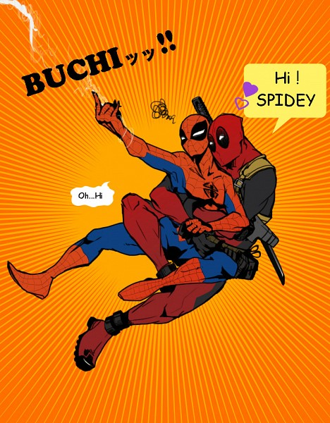 Tags: Anime, Pixiv Id 2747332, Spider-Man, Deadpool (Wade Wilson), Spider-Man (Character), Marvel