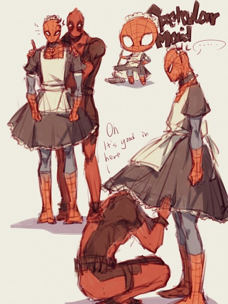 Tags: Anime, Pixiv Id 4414741, Spider-Man, Deadpool (Wade Wilson), Spider-Man (Character), Pixiv, Marvel