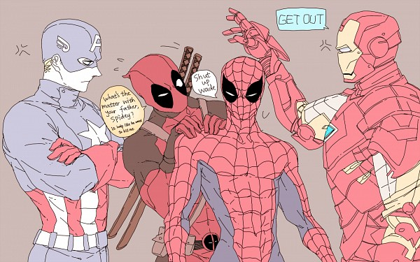 Tags: Anime, Mayer, Spider-Man, Iron Man, The Avengers, Iron Man (Character), Deadpool (Wade Wilson), Anthony Edward Stark, Spider-Man (Character), Steven Rogers, Captain America, Star Print, Marvel