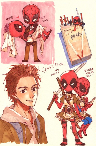 Tags: Anime, Mayer, Spider-Man, Deadpool (Wade Wilson), Spider-Man (Character), Chinese Text, PNG Conversion, Pixiv, Mobile Wallpaper, Fanart, Marvel, Fanart From Pixiv