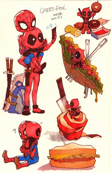Tags: Anime, Mayer, Spider-Man, Deadpool (Wade Wilson), Spider-Man (Character), Taking A Photo, Sandwich, Skateboard, Chinese Text, Mobile Wallpaper, PNG Conversion, Pixiv, Marvel