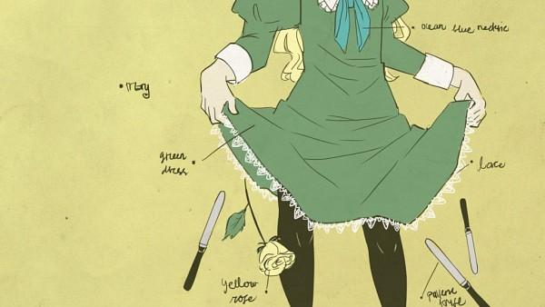 Tags: Anime, Kuroha Ai, Ib, Mary (Ib), Senjougahara Hitagi (Cosplay), Lace Trim, Sayonara Zetsubou Sensei (Parody), Monogatari (Parody), Wallpaper, Facebook Cover