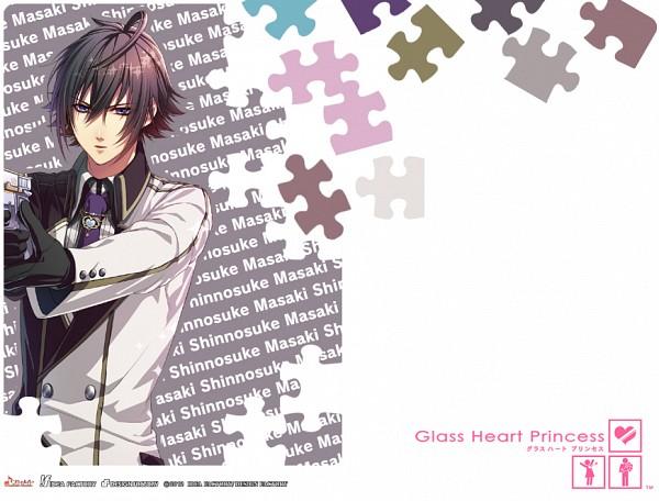 Tags: Anime, Kinami Yuki, IDEA FACTORY, Glass Heart Princess, Masaki Shinnosuke, Puzzle Piece, Heart Necklace, Official Art, Official Wallpaper