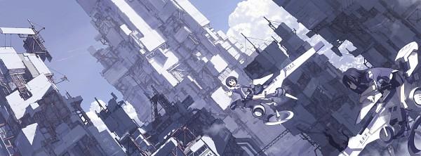 Tags: Anime, Masariro, Dragons Heaven Illust, Construction Site, Hover Bike, Contrail, Original, Pixiv