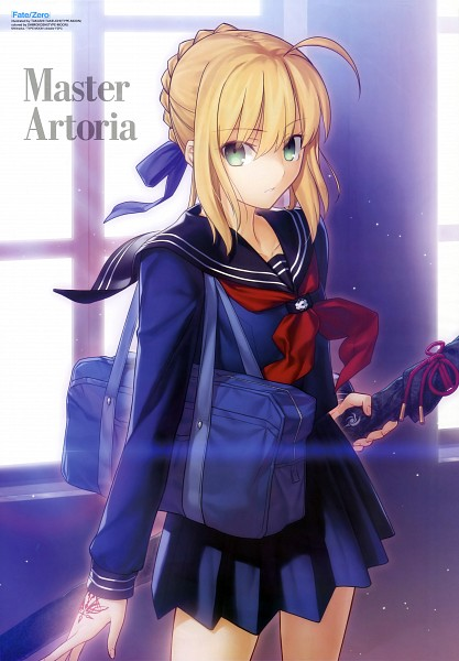 Tags: Anime, Takeuchi Takashi, TYPE-MOON, Capsule Servant, Saber (Fate/stay night), Master Artoria, Command Seal, Official Art, Mobile Wallpaper, Scan