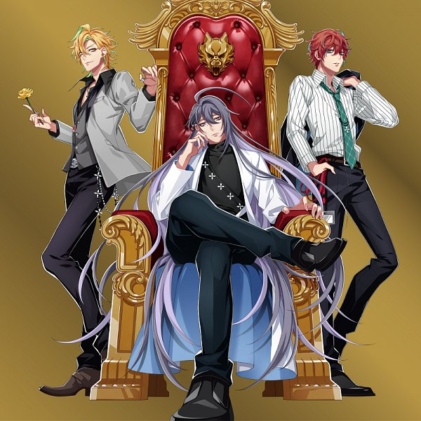 Tags: Anime, Hypnosis Mic -Division Rap Battle-, Jinguuji Jakurai, Izanami Hifumi, Kannonzaka Doppo, Sitting On Throne, Official Art, CD (Source), Matenrou