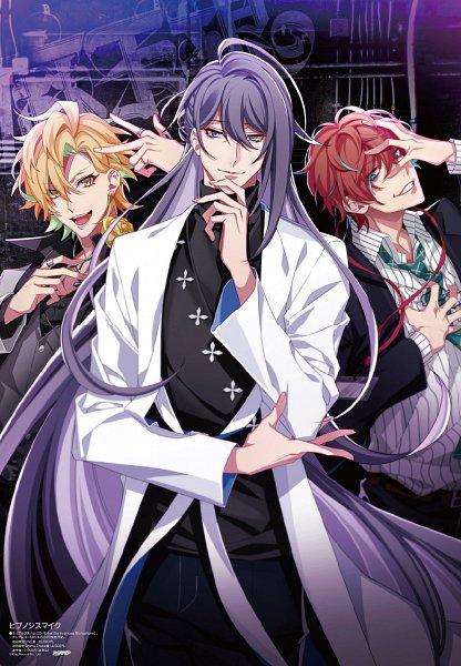 Tags: Anime, Kazui, Hypnosis Mic -Division Rap Battle-, Kannonzaka Doppo, Jinguuji Jakurai, Izanami Hifumi, Graffiti, Hand on Forehead, Magazine (Source), Poster (Source), Official Art, Animedia, Matenrou