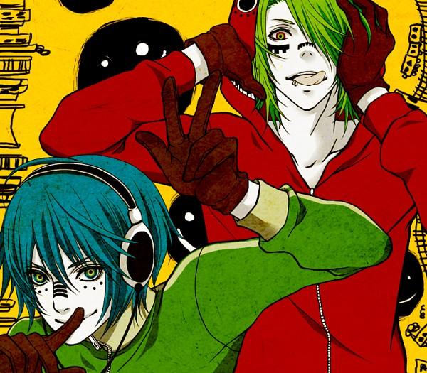 Tags: Anime, Pixiv Id 894885, Ju (Nico Nico Singer), Tunta, Red Hoodie, Smiley Face, Hachi-p, Pixiv, Nico Nico Douga, Fanart, Matryoshka, Nico Nico Singer