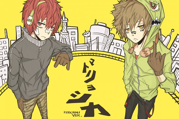 Tags: Anime, Kaeun, Katekyo Hitman REBORN!, Kozato Enma, Sawada Tsunayoshi, Railroad Tracks, I Love You Gesture, Hachi-p, deviantART, Matryoshka