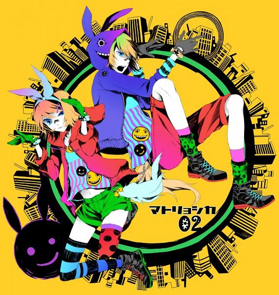 Tags: Anime, MACCO, VOCALOID, Kagamine Len, Kagamine Rin, Bunny Ear Gesture, Fanart, Pixiv, Matryoshka, Kagamine Mirrors