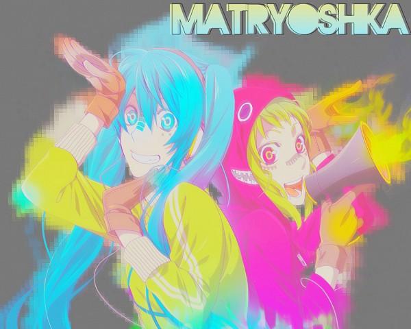 Tags: Anime, VOCALOID, GUMI, Hatsune Miku, Artist Request, Fanart, Matryoshka