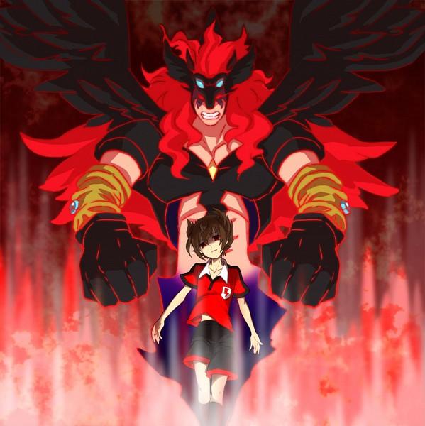 Tags: Anime, Pixiv Id 1795396, Inazuma Eleven, Inazuma Eleven GO, Matsukaze Tenma, Majin Pegasus Arc R, Fanart, Dark Raimon, Pixiv