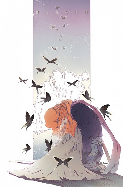 Tags: Anime, Pixiv Id 3503598, BLEACH, Matsumoto Rangiku, Disappearing, Hell Butterfly, Fanart, Pixiv, Mobile Wallpaper, GinRan
