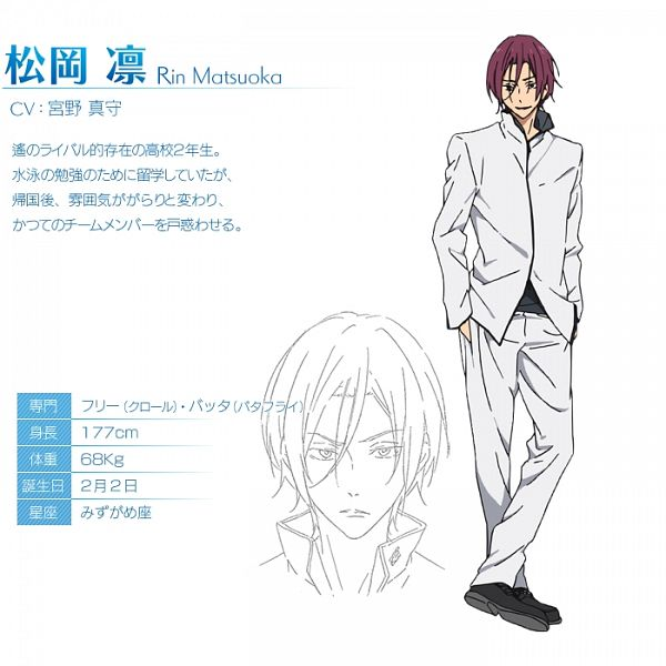 Tags: Anime, Nishiya Futoshi, Kyoto Animation, Free!, Matsuoka Rin, Crossed Legs (Standing), Cover Image, Official Character Information, Character Profile, Official Art
