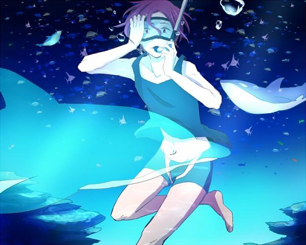 Tags: Anime, Pixiv Id 2837404, Free!, Matsuoka Rin, Dolphin, Orca, Snorkel, Fanart, Fanart From Pixiv, Pixiv