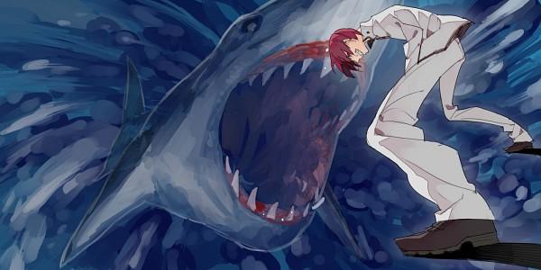 Tags: Anime, Hana (Pixiv63727), Free!, Matsuoka Rin, Shark, 2:1 Ratio, PNG Conversion, Pixiv, Fanart, Facebook Cover, Fanart From Pixiv
