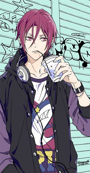 Tags: Anime, Senzaki Makoto, Free!, Matsuoka Rin, Straw, Open Hoodie, Graffiti, Fanart, Mobile Wallpaper