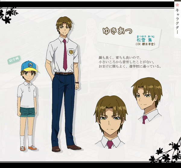 Tags: Anime, Tanaka Masayoshi, A-1 Pictures, Ano Hi Mita Hana no Namae o Bokutachi wa Mada Shiranai., Matsuyuki Atsumu, Wide Eyes, Character Sheet, Official Art