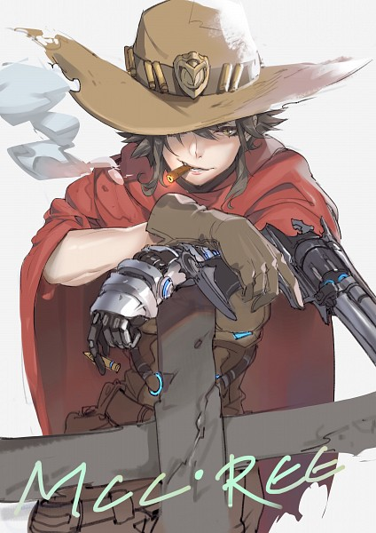 Tags: Anime, Pixiv Id 2370328, Overwatch, McCree, Revolver, Cigar, Mobile Wallpaper, Pixiv