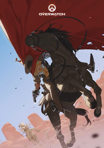 Tags: Anime, Pixiv Id 3684114, Overwatch, McCree, Desert, Horseback Riding, Fanart, Fanart From Pixiv, Pixiv