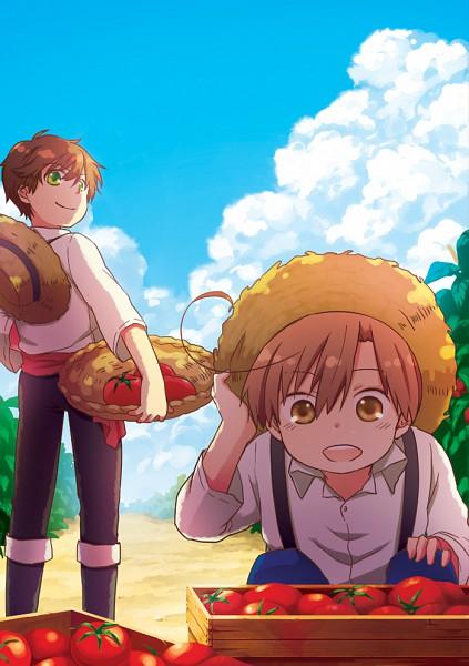Tags: Anime, Rinko Sky, Axis Powers: Hetalia, Spain, South Italy, Tomato Plant, Mobile Wallpaper, Pixiv, Mediterranean Countries