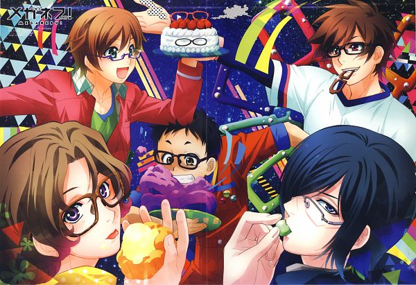 Tags: Anime, Meganebu!, Akira Souma, Hayato Kimata, Takuma Hachimine, Mitsuki Kamatani, Yukiya Minabe, Self Scanned, Scan, PASH!, Official Art, Magazine (Source)