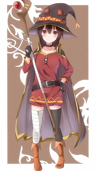 Tags: Anime, Pixiv Id 7042271, Kono Subarashii Sekai ni Shukufuku wo!, Megumin, Bandaged Legs, Mobile Wallpaper, PNG Conversion