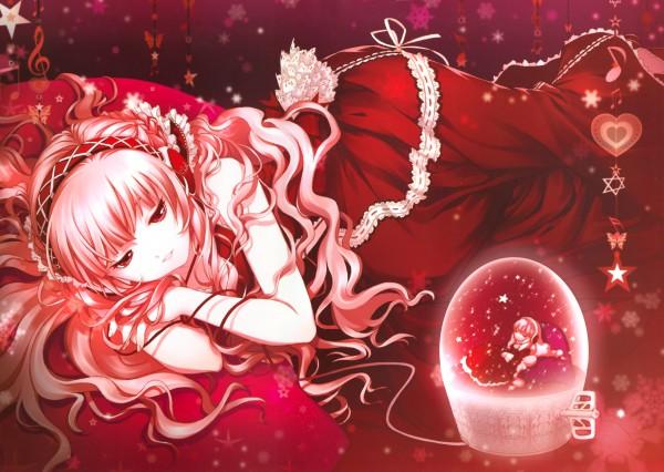 Tags: Anime, D myo, Dmyotic, D-myotic 4, VOCALOID, Megurine Luka, Snow Globe, Eyes Half Closed, Wallpaper, Pixiv