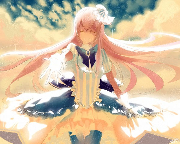 Tags: Anime, Pixiv Id 7535233, Project DIVA 2nd, VOCALOID, Megurine Luka, Backlight, Vertical-striped Dress, Fanart From Pixiv, Fanart, Project DIVA Fraulein, Pixiv