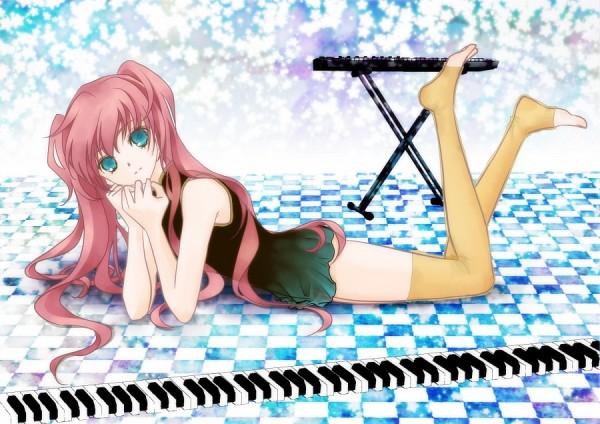 Tags: Anime, VOCALOID, Megurine Luka, Toeless Socks, Keyboard (Instrument)