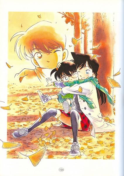 Tags: Anime, Aoyama Goushou, Meitantei Conan, Kudou Shinichi, Mouri Ran, Edogawa Conan, Ginkgo Biloba, Mobile Wallpaper, Manga Color, Scan, Detective Conan