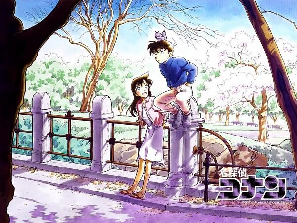 Tags: Anime, Aoyama Goushou, Meitantei Conan, Mouri Ran, Kudou Shinichi, Park, Squirrel, Official Wallpaper, Wallpaper, Official Art, Detective Conan
