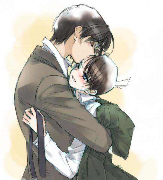 Tags: Anime, Toujou Sakana, Meitantei Conan, Kudou Shinichi, Takagi Wataru, Kiss on the Head, Fanart, Pixiv, Detective Conan
