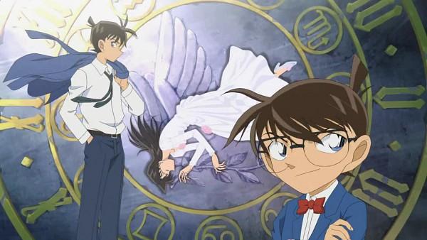 Tags: Anime, Meitantei Conan, Kudou Shinichi, Mouri Ran, Edogawa Conan, Faux Wings, Screenshot, Wallpaper, Facebook Cover, Detective Conan