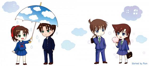 Tags: Anime, Pixiv Id 1571544, Meitantei Conan, Touyama Kazuha, Hattori Heiji, Kudou Shinichi, Mouri Ran, Sky Umbrella, Facebook Cover, Detective Conan