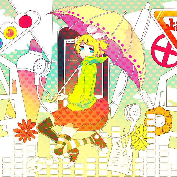 Tags: Anime, Kyama, Project DIVA F, VOCALOID, Kagamine Rin, Yellow Umbrella, Converse, Heart Print, Equalizer, Traffic Light, Melancholic, Project DIVA Melancholy