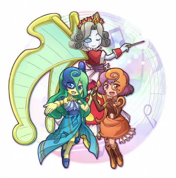 Tags: Anime, Pixiv Id 2866718, Yu-Gi-Oh!, Yu-Gi-Oh! ARC-V, Sonata the Melodious Diva, Mozarta the Melodious Maestra, Aria the Melodious Diva, Semi Chibi, Fanart From Pixiv, Pixiv, Fanart, Melodious