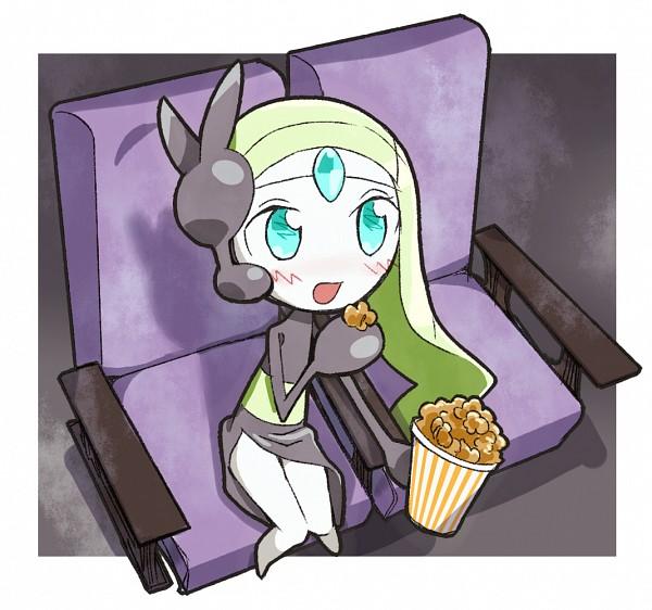 Tags: Anime, Pixiv Id 2630161, Pokémon, Meloetta, Popcorn, Movie Theater, Legendary Pokémon, Pixiv