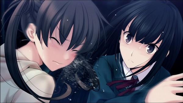 Tags: Anime, Memories Off Series, Memories Off: Yubikiri no Kioku, Amakawa Chinatsu, Nagumo Kasumi, Slapping, CG Art, Wallpaper
