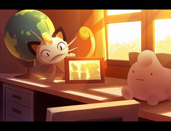 Tags: Anime, Pixiv Id 15982110, Pokémon, Meowth, Globe, Pixiv, Fanart From Pixiv, Fanart