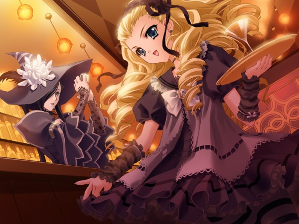 Tags: Anime, CARNELIAN, Messiah - Paranoia Paradox, Messiah, Veronica (Messiah), Alice (Messiah), Bartender, Bar, Official Art, CG Art
