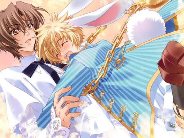 Tags: Anime, CARNELIAN, Messiah - Paranoia Paradox, Messiah, Ashiya Tsukasa, Katsuragi Takuto, Pounce, Official Art, CG Art