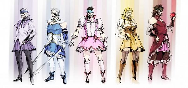 Tags: Anime, Metal Gear Solid, Big Boss, Old Snake, Solidus Snake, Solid Snake, Liquid Snake, Mahou Shoujo Madoka☆Magica (Parody), Pixiv, Fanart From Pixiv, Fanart